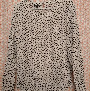Sz10 gently worn Talbots cream patterned blouse